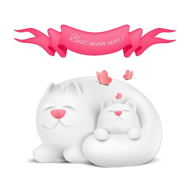 어머니 고양이와 작은 키티 해피 어머니의 날 인사말 카드 프리미엄 벡터