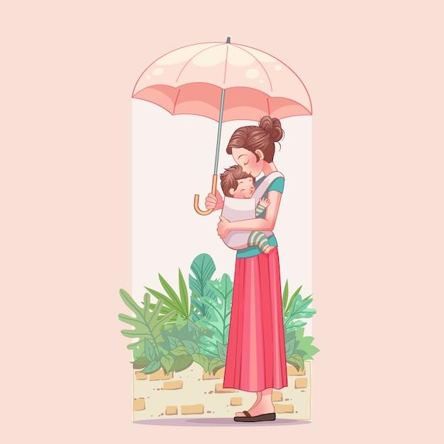 Открытка с днем матери. молодая мама с ребенком Premium векторы
