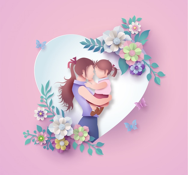 Happy mother's day greeting card. Premium Vector