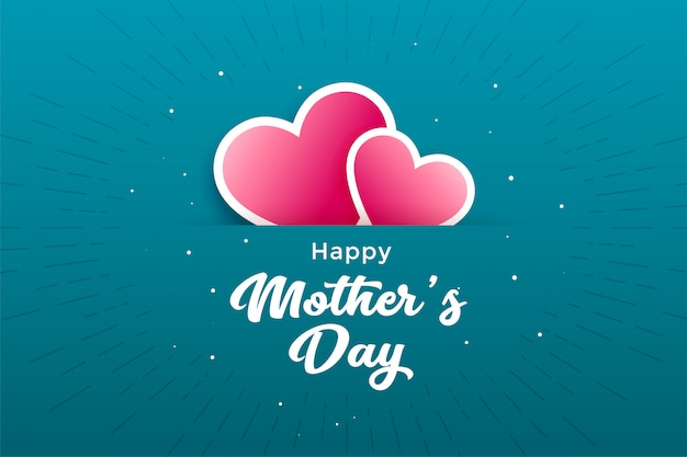Happy mother's day hearts greeting card Free Vector