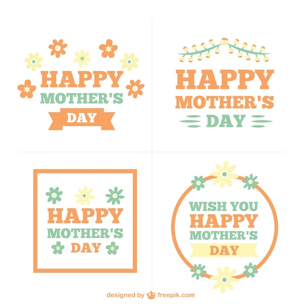 happy mother 39 s day labels collection vector premium download. Black Bedroom Furniture Sets. Home Design Ideas