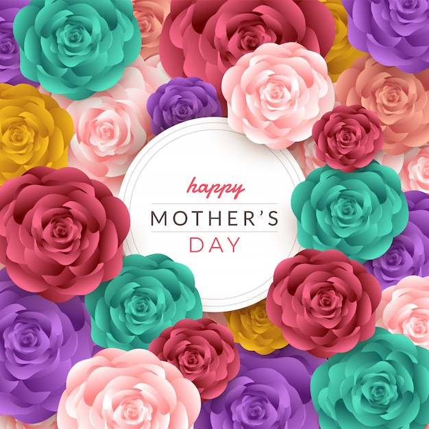 バラ、レタリング、紙カット、テクスチャ背景と幸せな母の日のレイアウト。図。 Premiumベクター