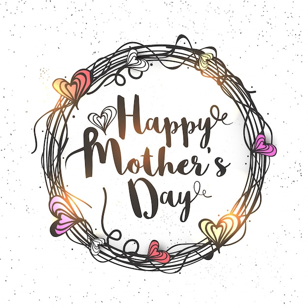 Happy Mother's Day lettering in hearts decorated rounded frame, Creative hand drawn greeting card design Free Vector