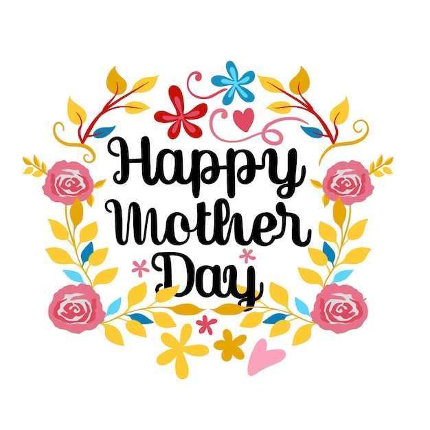 Happy mother's day lettering on a white Premium Vector