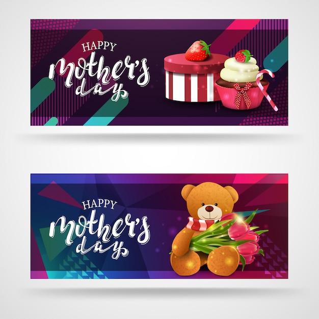 Happy mother's day, modern congratulations postcard template Premium Vector