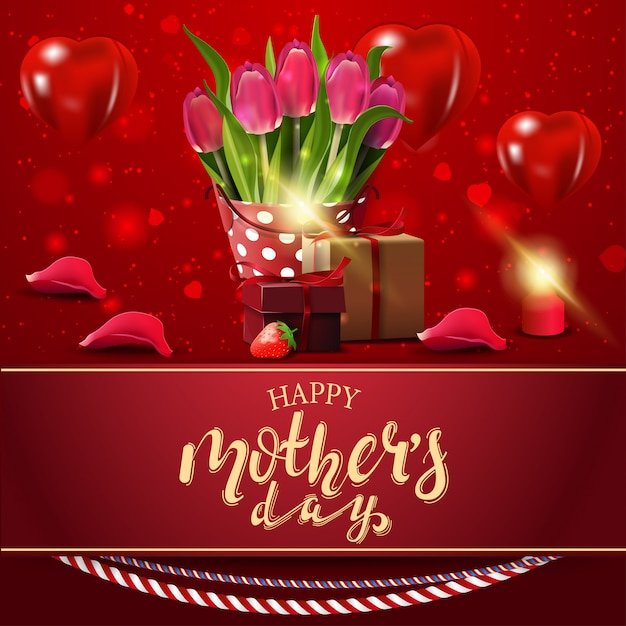 Happy mother's day, modern red congratulations postcard Premium Vector