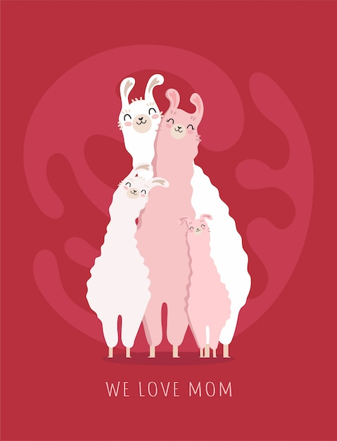 Happy mother's day picture with llama family Premium Vector