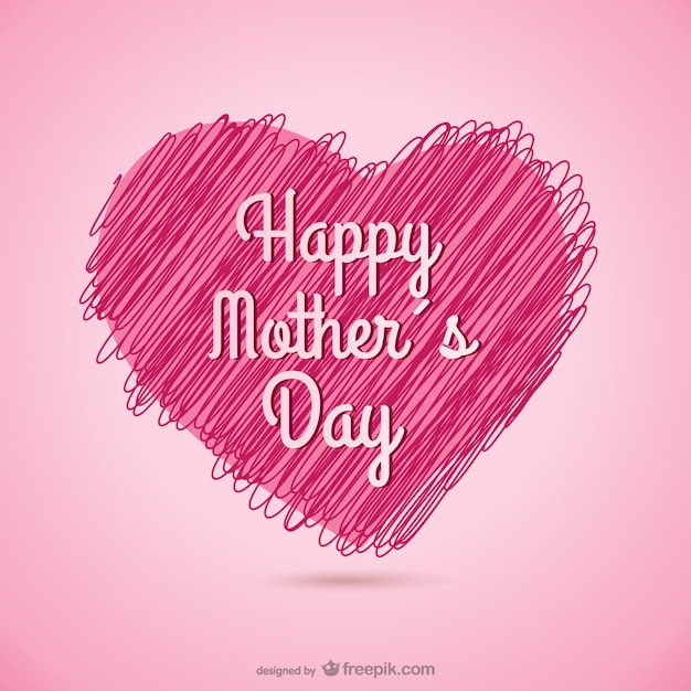 happy mother s day sketchy heart card vector free download