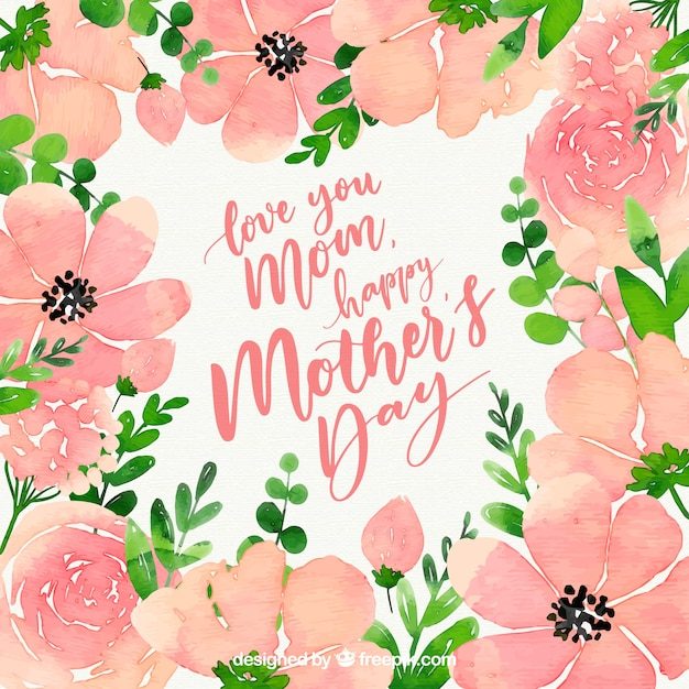 Happy mother\'s day watercolour background with\ flowers