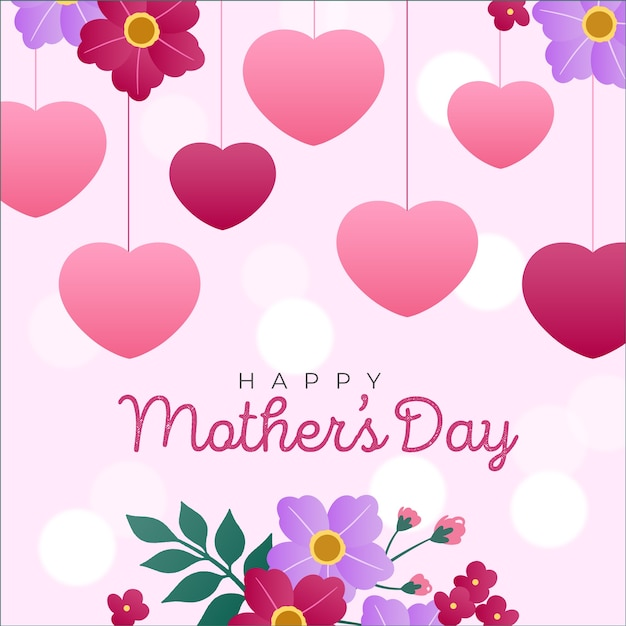 Happy mother's day watercolour hearts and flowers Free Vector