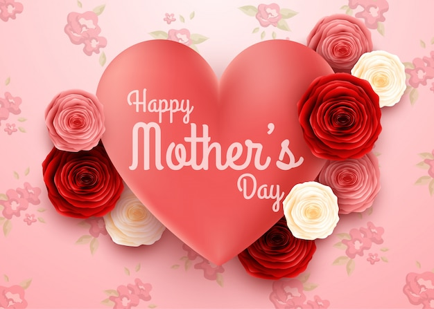 Happy mother's day with flowers background Premium Vector