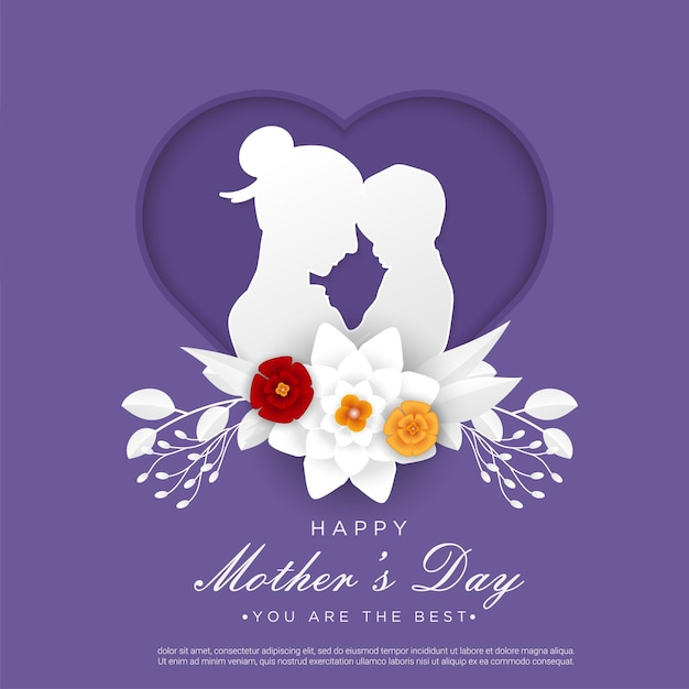 Happy mother's day with mom and child papercut Premium Vector