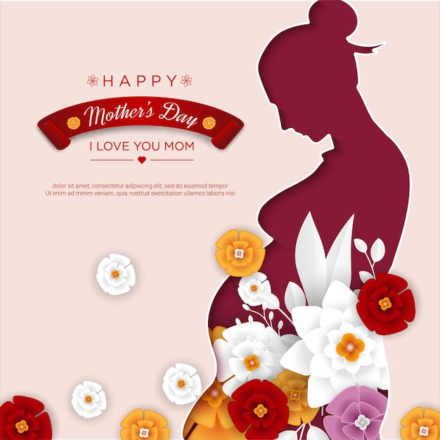 Happy mother's day with mom papercut and floral Premium Vector
