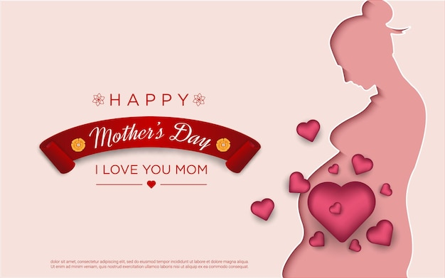 Happy mother's day with mom papercut and realistic love Premium Vector