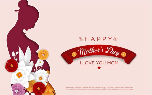 Happy mother's day with mom papercut Premium Vector