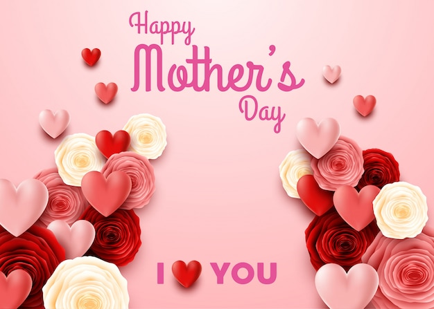Happy mother's day with rose on pink background Premium Vector