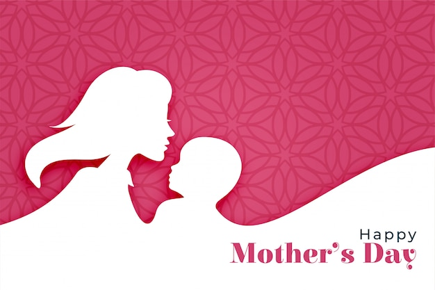 Happy mothers day background with mom and child silhouette Free Vector