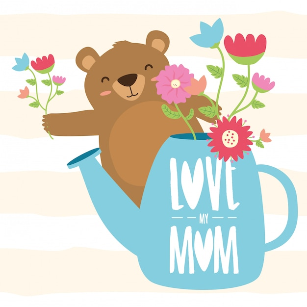 Happy mothers day bear mom illustration Free Vector