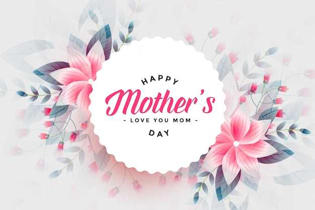 Happy mothers day beautiful flower background Free Vector