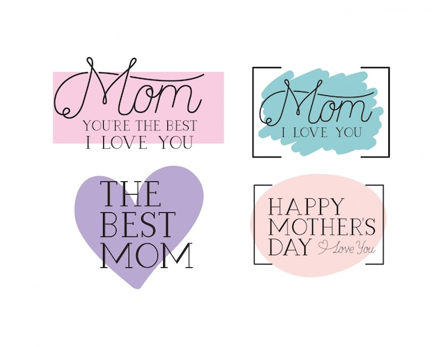 Happy mothers day card set calligraphy messages Premium Vector
