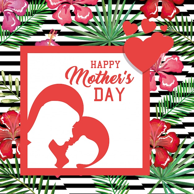 Happy mothers day card with floral decoration Free Vector