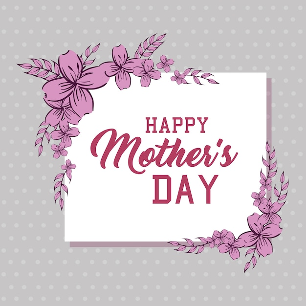 Happy mothers day card with floral decoration Premium Vector