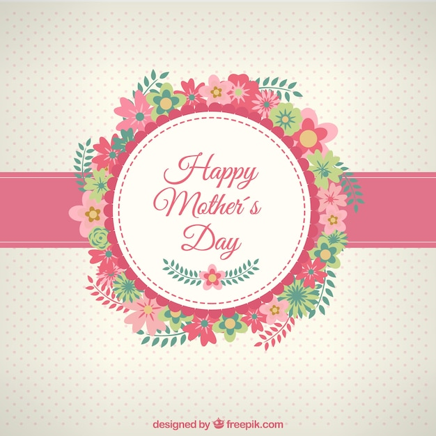 Happy mothers day card with flowers Free Vector