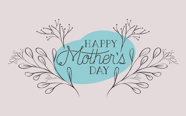Happy mothers day card with herbs circular frame Premium Vector