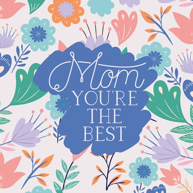 Happy mothers day card with herbs frame Premium Vector