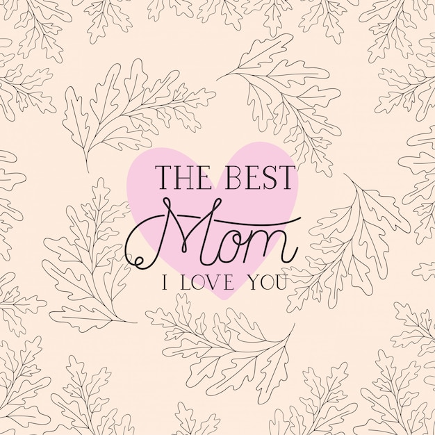 Happy mothers day card with herbs heart frame Premium Vector