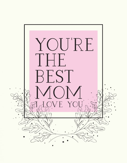 Happy mothers day card with herbs square frame Premium Vector