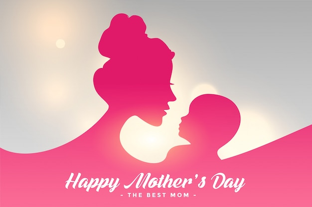 Happy mothers day card with mom and child relation background Free Vector