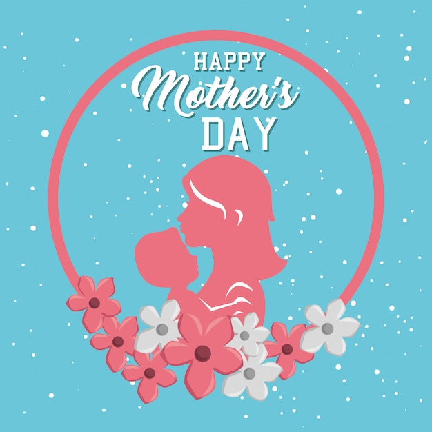Happy mothers day card with mom and son silhouette Free Vector