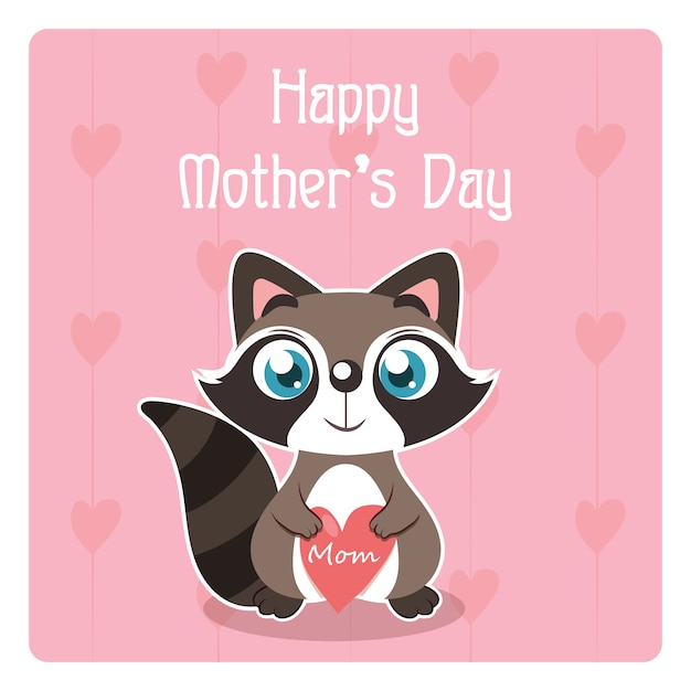 Happy mothers day card with squirrel