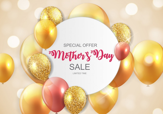 Happy mothers day cute sale banner with balloons Premium Vector