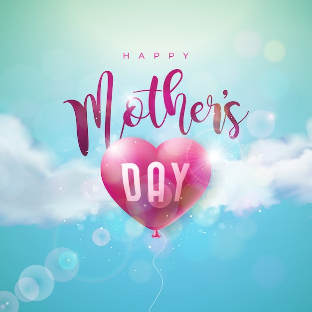 Happy mothers day design with air balloon heart Premium Vector