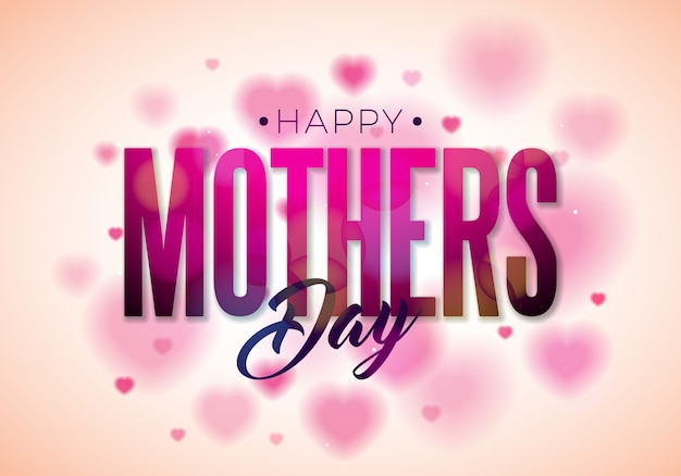 Happy mothers day design with typography on heart. Premium Vector