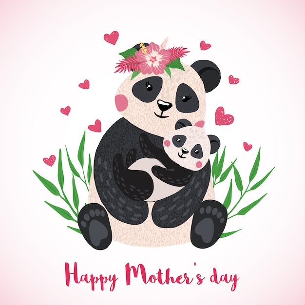 Happy mothers day greeting card with cute panda with baby in hand drawn style. Premium Vector