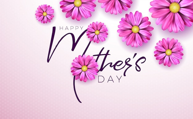 Happy mothers day greeting card with flower and typography on pink Free Vector