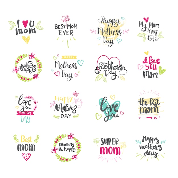 Happy mothers day hand drawn lettering collection for greeting card isolated on white background Premium Vector