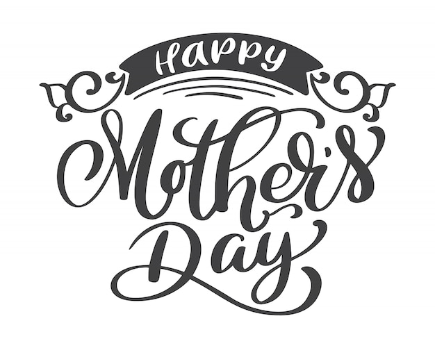 Happy mothers day hand drawn lettering quotes Premium Vector
