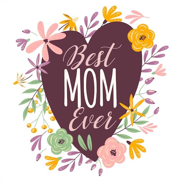 Happy mothers day heart Premium Vector