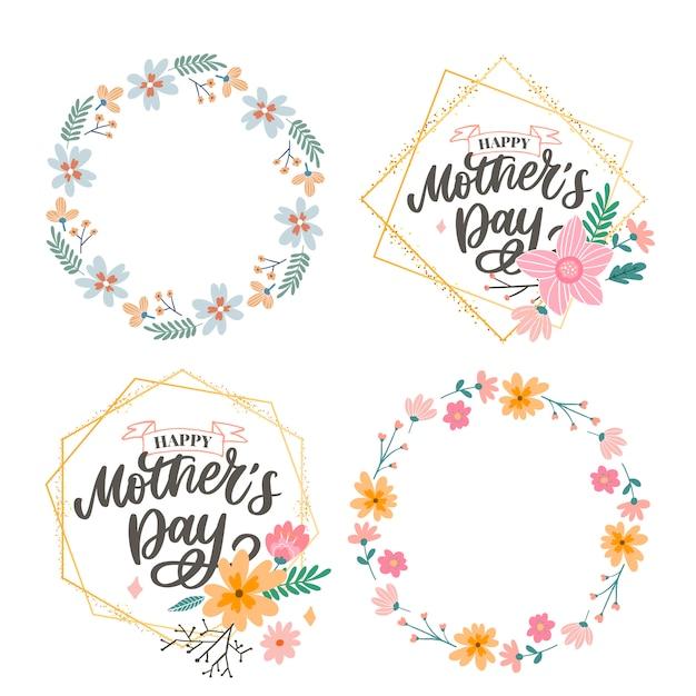 premium vector  happy mothers day lettering handmade