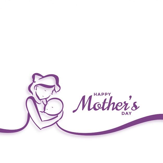 Felice festa della mamma mamma e bambino amore sfondo Vettore gratuito