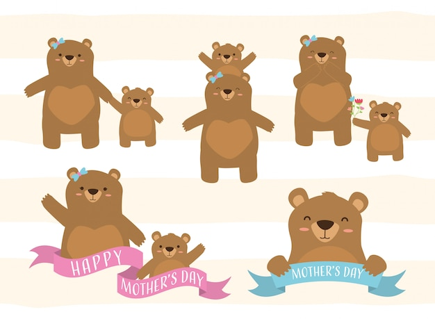 Happy mothers day set of bear mom and a little bear illustration Free Vector