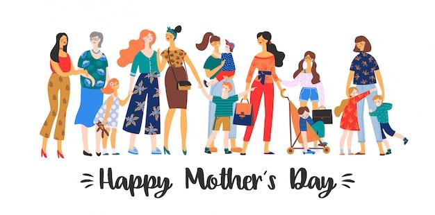 Happy mothers day. vector illustration Premium Vector