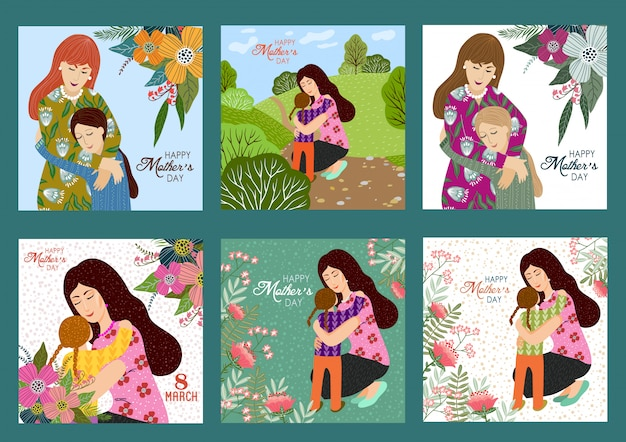Happy mothers day. vector set templates with mother and child Premium Vector
