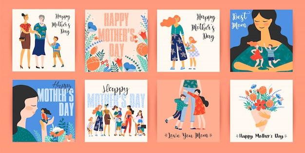 Happy mothers day. vector templates with women and children. Premium Vector