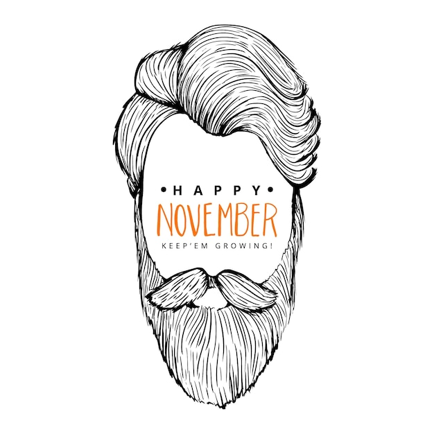 Happy movember background of man with hipster style Free Vector