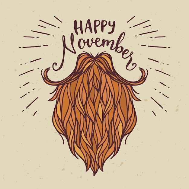 Happy movember hand drawn background Free Vector